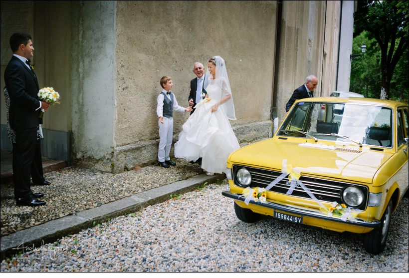 auto matrimonio fiat 131 gialla genova