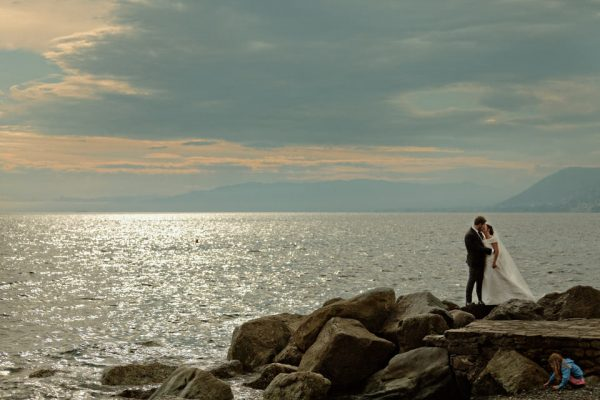 sposi tramonto mare camogli