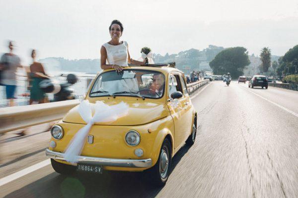 fiat 500 gialla auto matrimonio sposi
