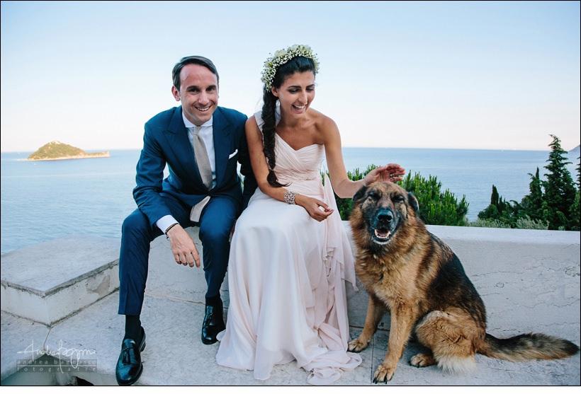 ritratto sposi cane matrimonio alassio