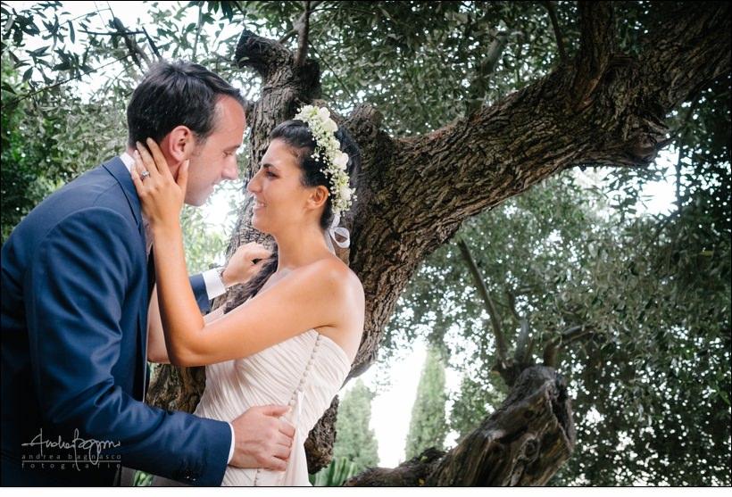 sposi ritratto ulivi matrimonio