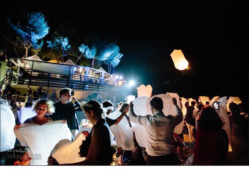 lanterne volano baba beach wedding alassio