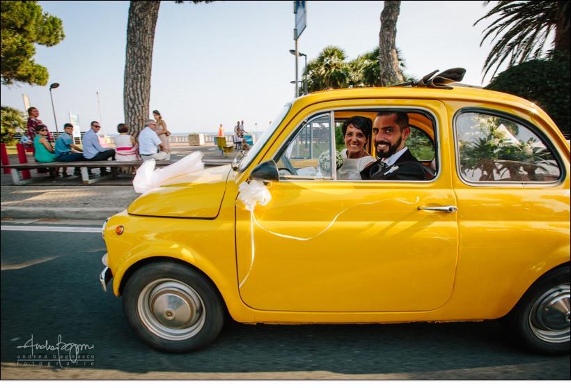 fiat 500 gialla auto matrimonio