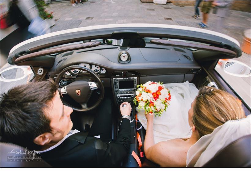 auto matrimonio porsche sposi
