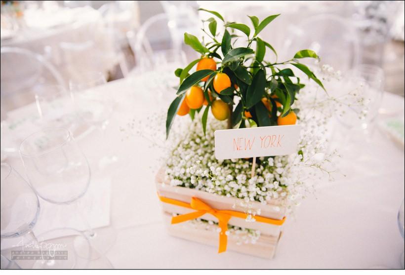centro tavola arancio matrimonio orangerie villa lagorio