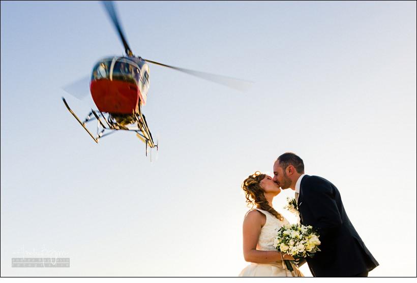 sposi elicottero matrimonio