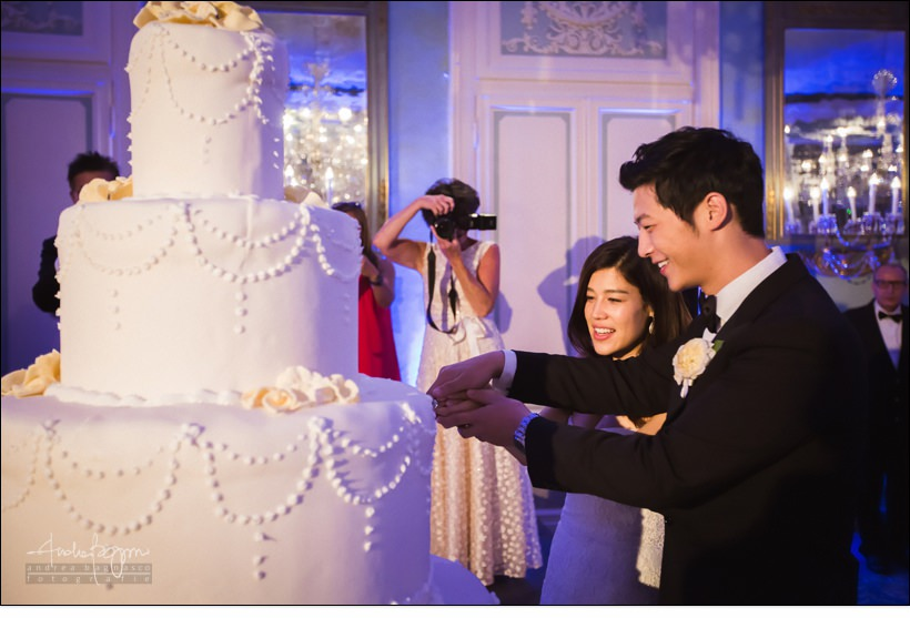 luxury wedding cake cutting