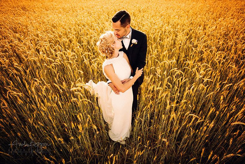 matrimonio toscana tramonto sposi
