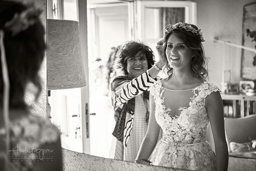 preparazione sposa ghirlanda fiori