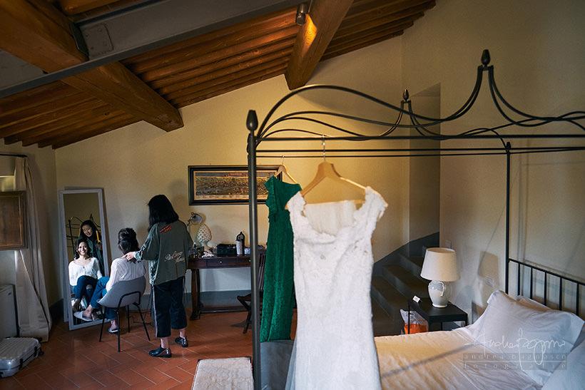 preparazione sposa villa medicea di Lilliano Firenze