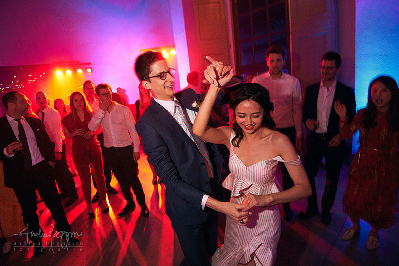 bride and groom during DJ set