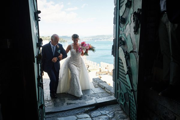 bride entering church in portovenere